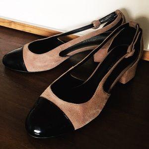 JEFFREY CAMPBELL Suede Patent Block Heel Shoes 7.5